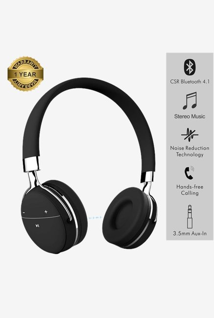 Portronics Muffs Pro POR 645 Wireless Bluetooth Headphone with Aux port Black