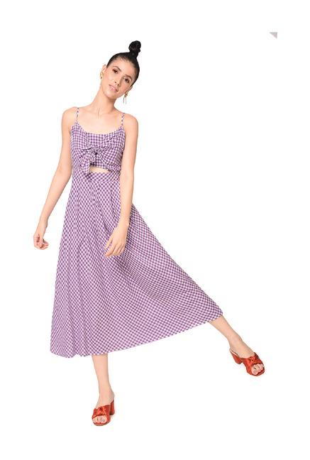 fe7a92752d03 Buy Bohobi Purple Checks Midi Dress for Women Online   Tata CLiQ