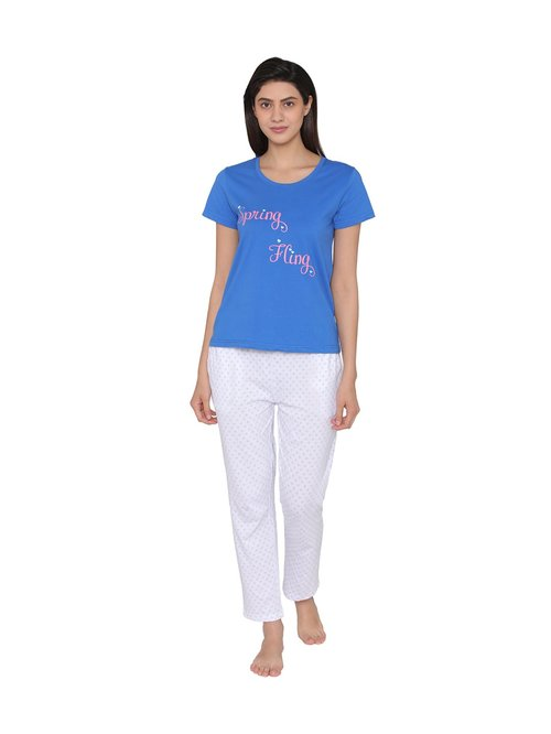 04c5688151c Buy Clovia White   Blue Printed Top   Pyjama Set for Women Online   Tata  CLiQ