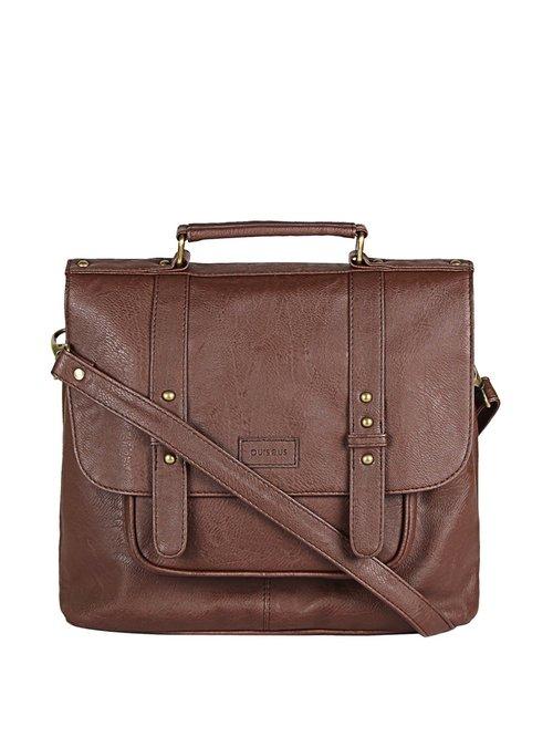 Purseus Buff Brown Solid Messenger Bag