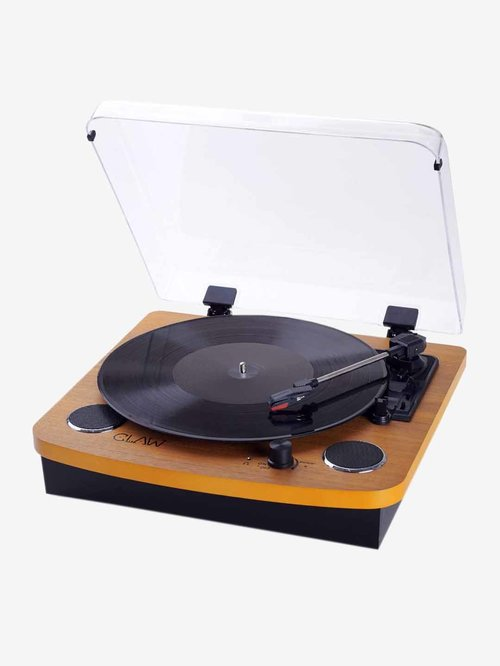 Claw Stag Superb Vinyl Record Player Turntable with Built-in Stereo Speakers (Wood)