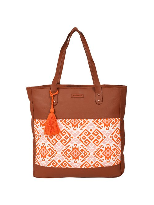 Kanvas Katha Brown   Orange Printed Tote Handbag