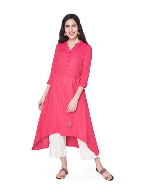 e7cb325c843 Buy Global Desi Pink Embroidered Kurta for Women Online @ Tata ...