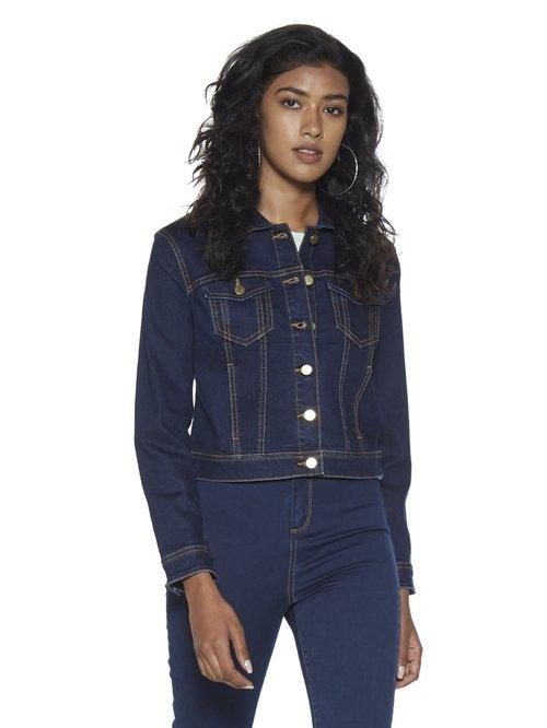 2139b75ac Buy Nuon by Westside Dark Blue Denim Jacket for Women Online @ Tata CLiQ