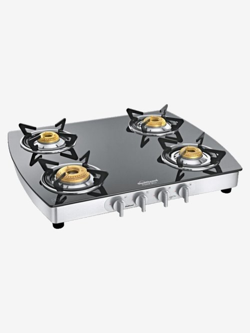 Sunflame Crystal Plus Dx SS 4 Burners Gas Stove (Black/Silver)