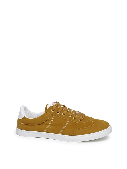 edb728395af Buy LUNA BLU by Westside Mustard Faux Suede Sneakers For Women ...