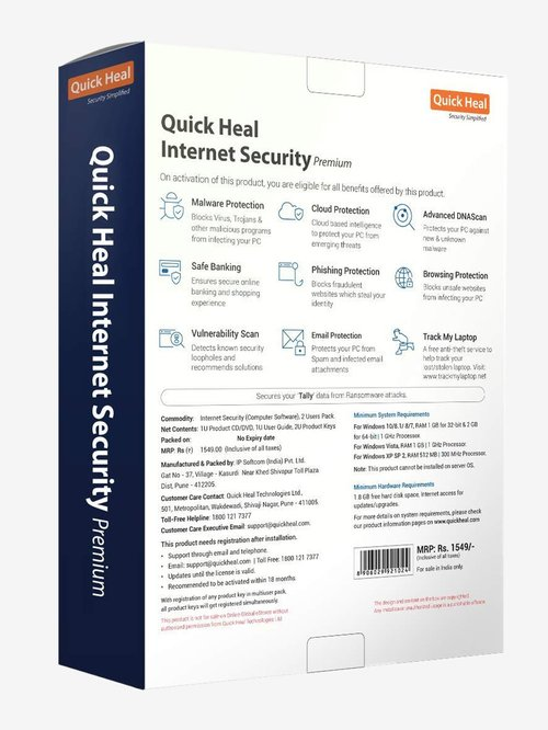 Buy Quick Heal Internet Security Premium - 2 PC for 1 Year Online At