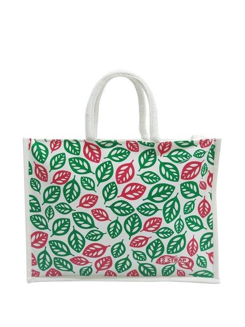 2 STRAP White   Green Juco Tote Handbag