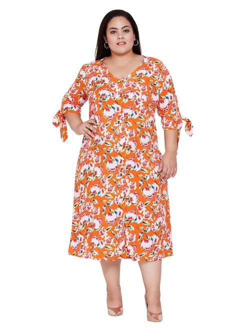 Oxolloxo Curves Orange Blossom Birdy Lee Midi Plus Dress