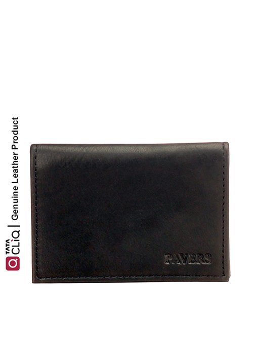Pavers England Black Casual Leather Travel Card Holder for Men