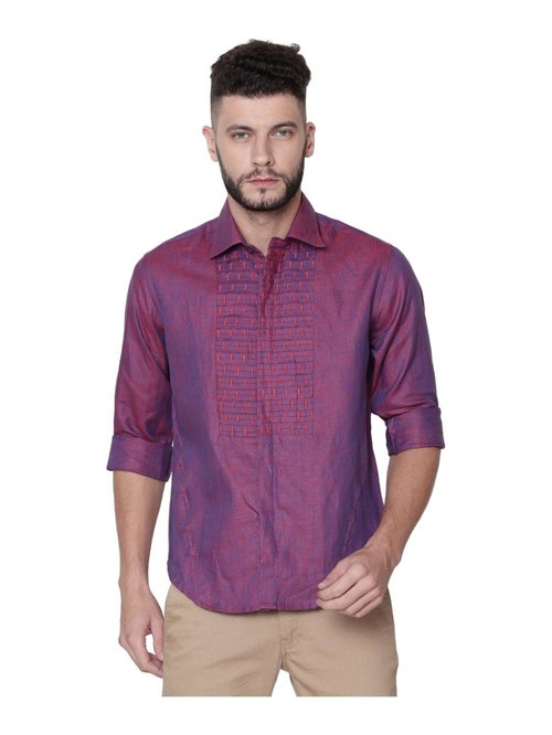 Linen Club Maroon Embroidered Shirt