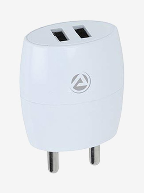 ARU AR 245 2.1 Amp Dual Port Fast Charger with Charge and Sync USB Cable  White