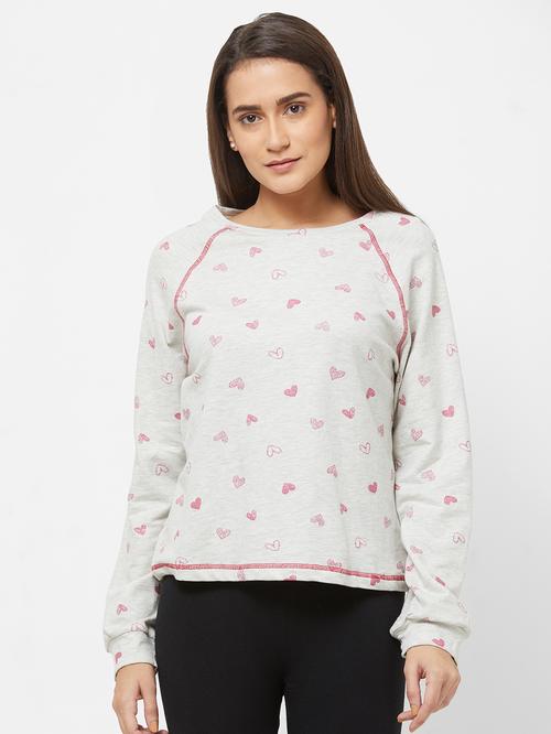 Mystere Paris Light Grey Printed Sweatshirt
