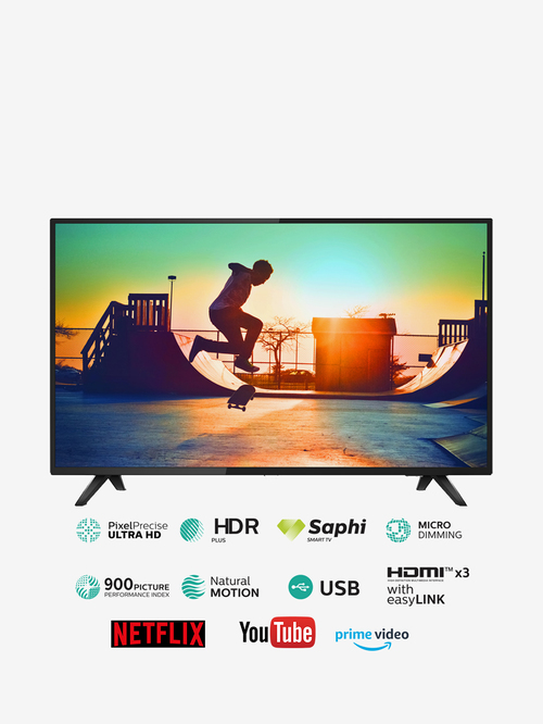 Philips 139 cm  55 inches  Smart 4K Ultra LED TV 6100 55PUT6103S  Black, 2019 Model