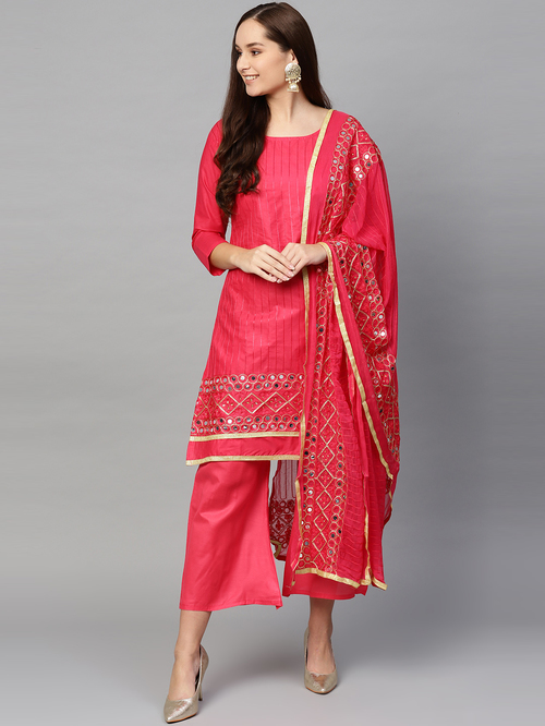 Ishin Pink Cotton Embroidered Unstitched Dress Material