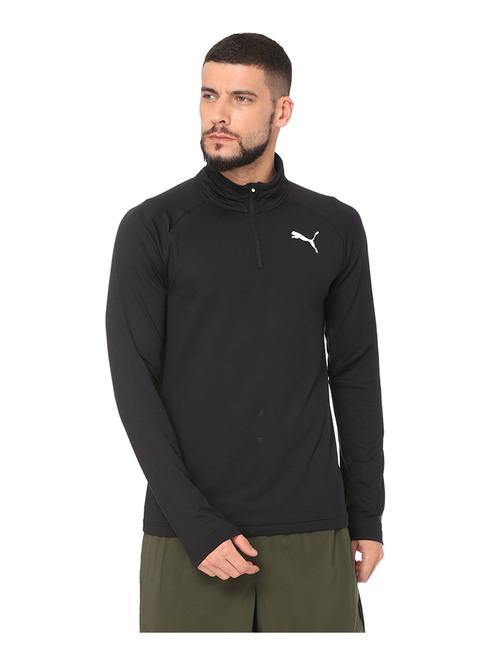 Puma Black Solid Cotton Full Sleeves Sweatshirt