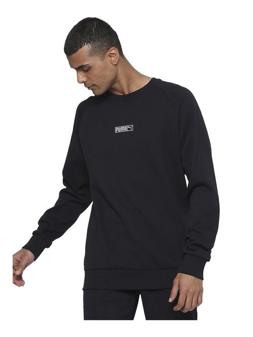 Puma Black Solid Full Sleeves Sweatshirt