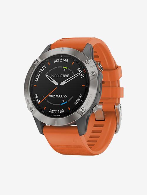 Garmin Fenix 6 Sapphire Smartwatch (Titanium/Ember Orange)