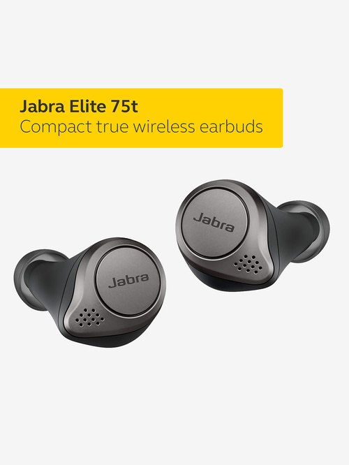 Jabra Elite 75t True Wireless Earbuds With Mic  Titanium Black