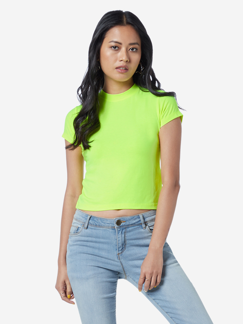 Buy Nuon by Westside Neon Green Crop T Shirt for Women