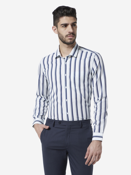 WES Formals by Westside White Stripe Print Slim Fit Shirt