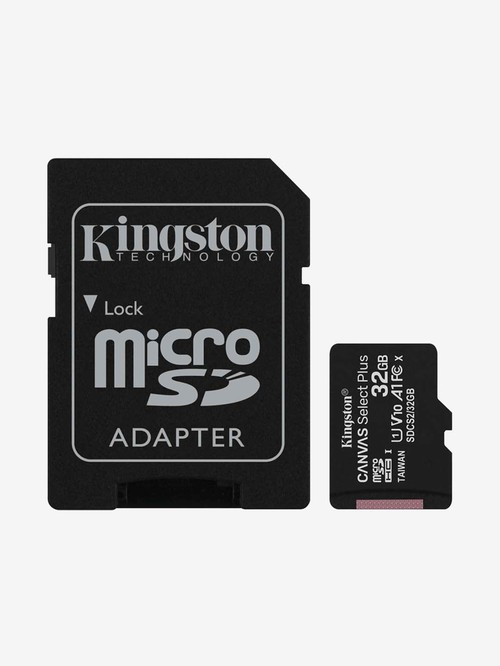 Kingston 32  GB Class 10 Micro SD Memory Card with SD Adapter  Canvas Select Plus, Black