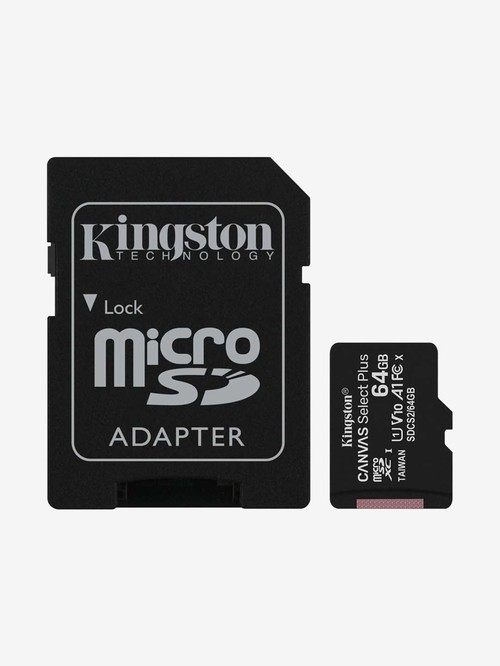 Kingston 64  GB Class 10 Micro SD Memory Card with SD Adapter  Canvas Select Plus, Black