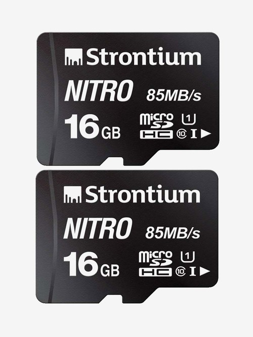 Strontium Nitro Class 10 16  GB SDHC UHS I Memory Card Pack of 2  SRN16GTFU1QR, Black
