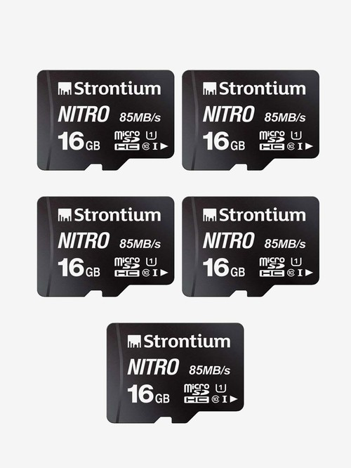 Strontium Nitro Class 10 16 GB SDHC UHS I Memory Card Pack of 5  SRN16GTFU1QR, Black