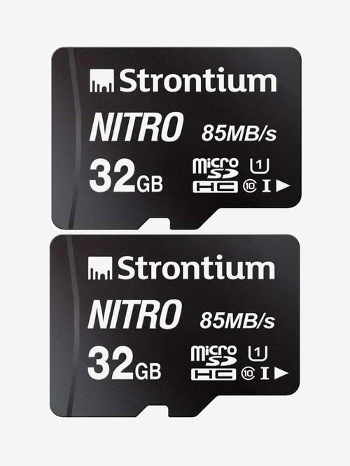 Strontium Nitro Class 10 32  GB SDHC UHS I Memory Card Pack of 2  SRN32GTFU1QR, Black