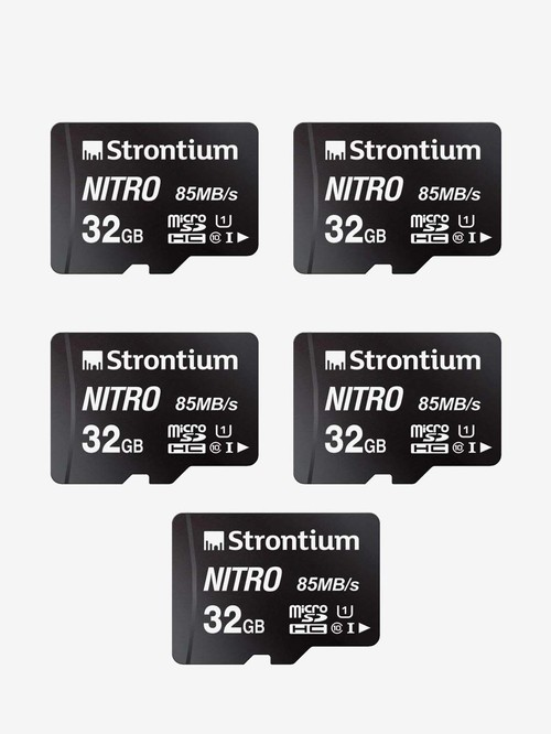 Strontium Nitro Class 10 32 GB SDHC UHS I Memory Card Pack of 5  SRN32GTFU1QR, Black