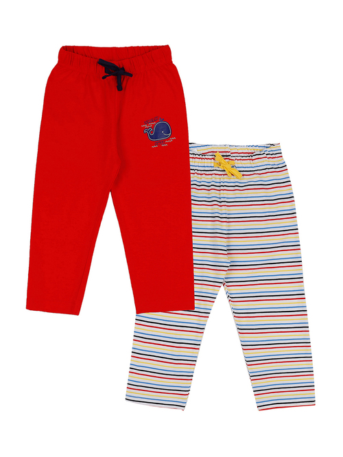Pantaloons Baby Red   White Cotton Striped Pajamas   Pack of 2