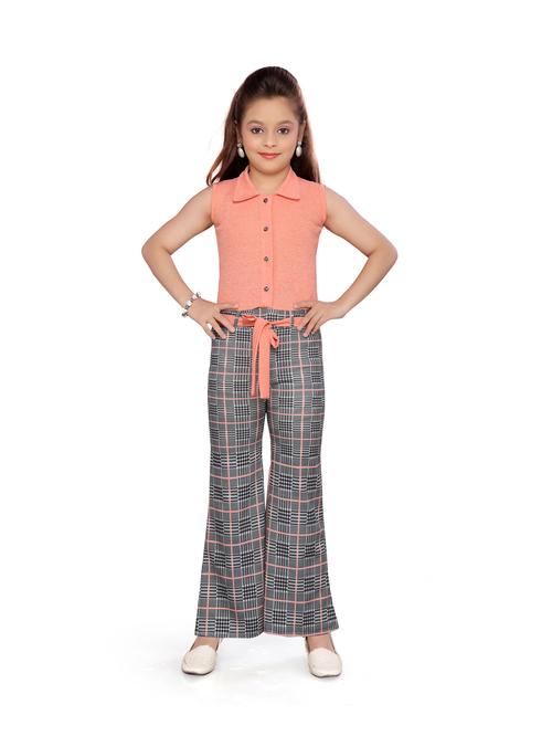 Aarika Kids Orange & Grey Checks Jumpsuit With Belt
