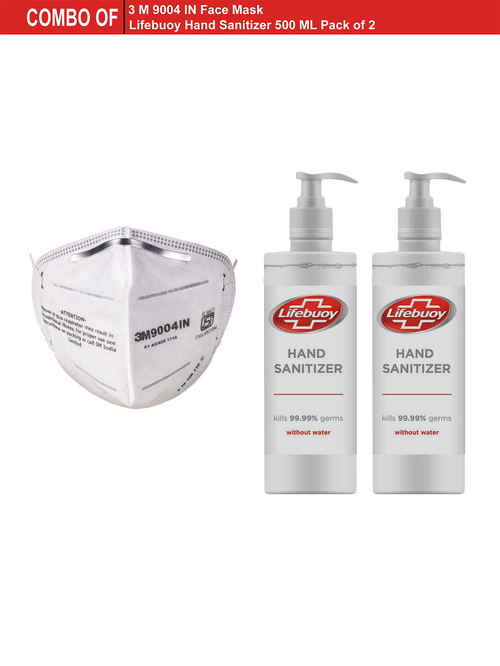Combo of 1 3M Face Mask   2 Lifebuoy Hand Sanitizers  500 ml
