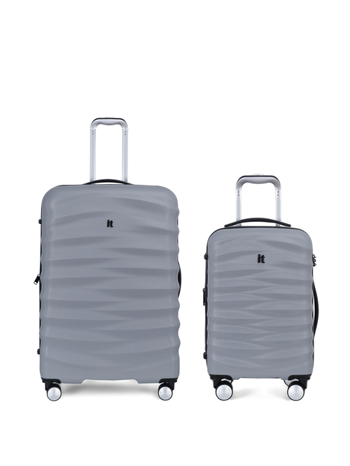 It luggage Mesmeric Silver 8 Wheel Extra Large Hard Cabin Trolley Bags   Set of 2