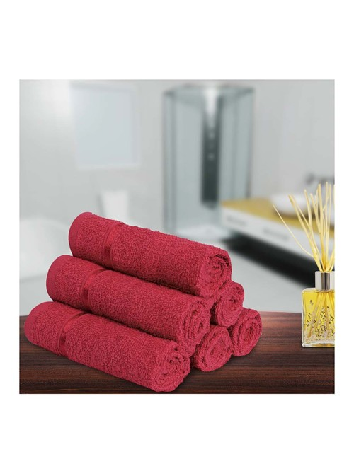 Story@Home Red 450 GSM Face Towels   Set of 6