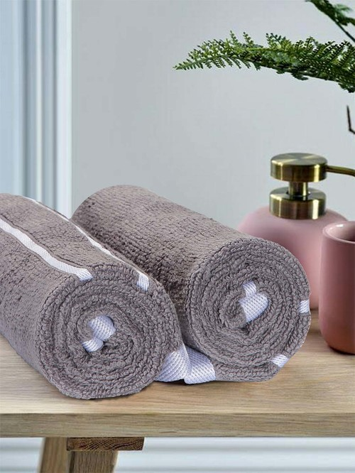 Mark Home 100% Cotton 500 GSM Zero Twist Simply Soft Grey Hand Towels   Set of 2