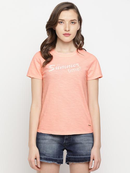 Buy Pepe Jeans Orange Printed T Shirt Online At Best Prices Tata Cliq
