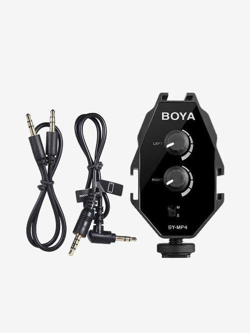 Boya By MP4 Audio Adapter for Camera, Camcorder, Smartphone  Black