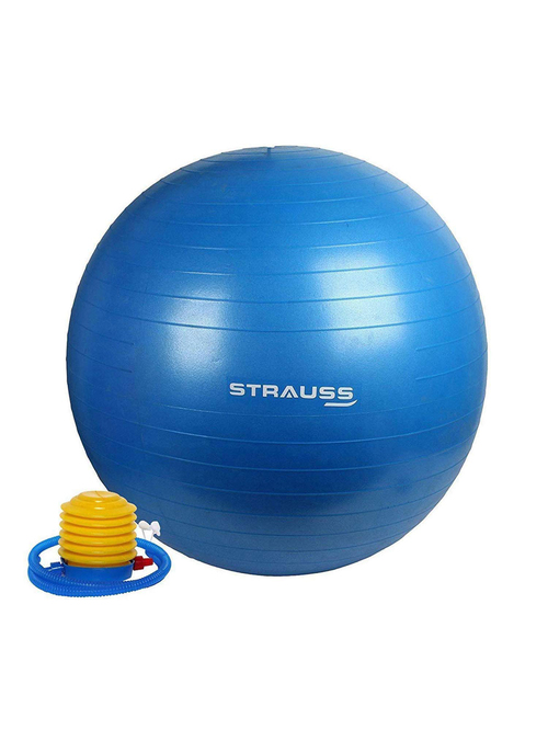 Strauss Anti Burst Gym Ball with Foot Pump  Blue, 65cm