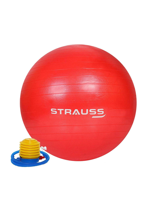 Strauss Anti Burst Gym Ball with Foot Pump 75 cm  Red