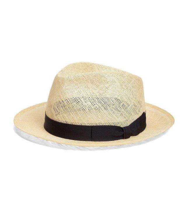 Brooks Brothers Natural Straw Fedora Hat