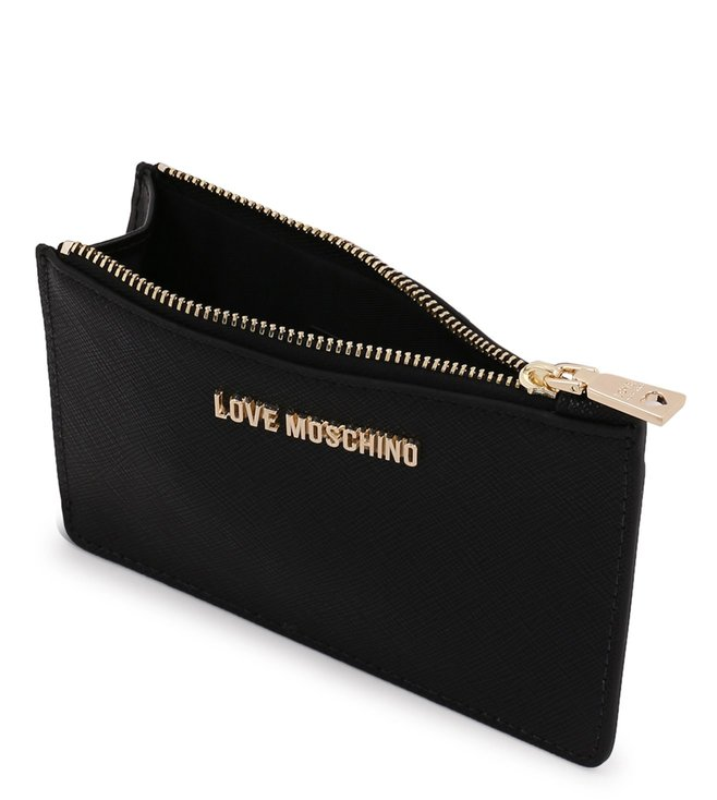 brand new 4722a 96e10 Buy Love Moschino Lettering Nero Small Coin & Card Case for Women ...