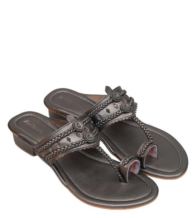 36ca371f715 Buy Aprajita Toor Gunmetal Agna Box Heel Sandals for Women Online ...