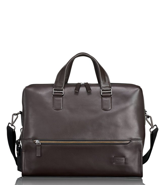 b834563a94ff Buy Tumi Brown Harrison Horton Double Zip Briefcase for Men Online ...
