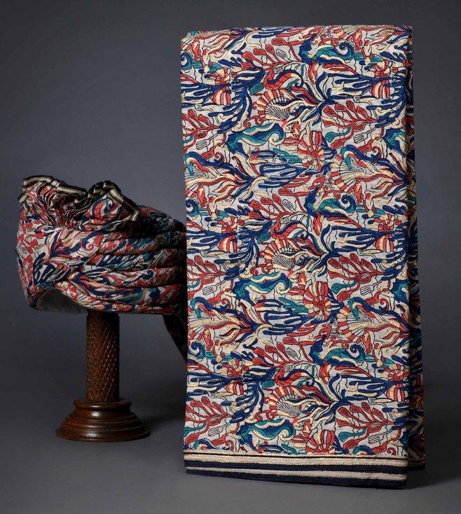 Turban Trunks Coral Cotton Handblock Printed Un-Tied Turban