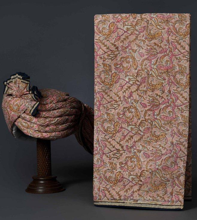 Turban Trunks Shell Pink Cotton Handblock Printed Un-Tied Turban