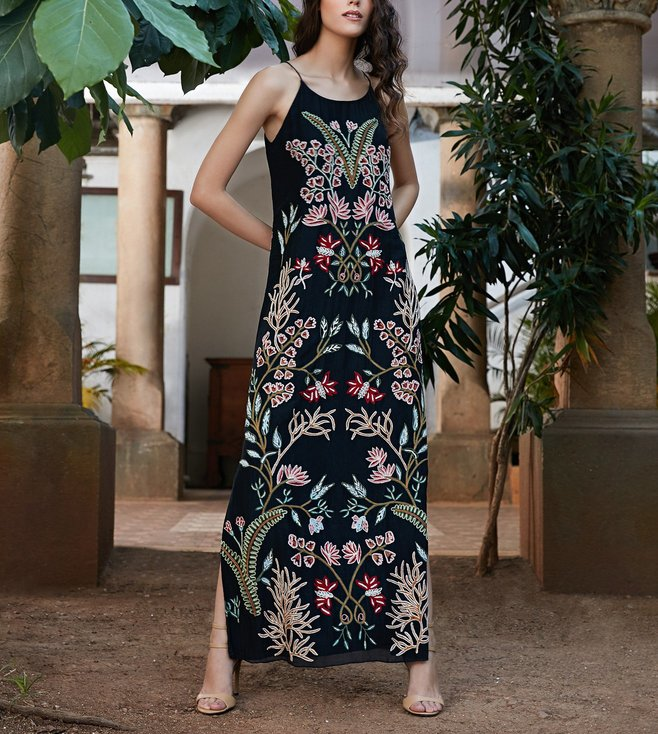 Buy Anita Dongre Grassroot Black Embroidered Sita Dress for Women
