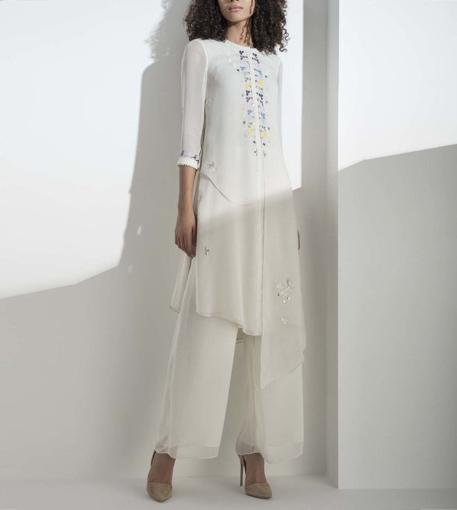 AM:PM Ivory Embellished Georgette Tunic Set