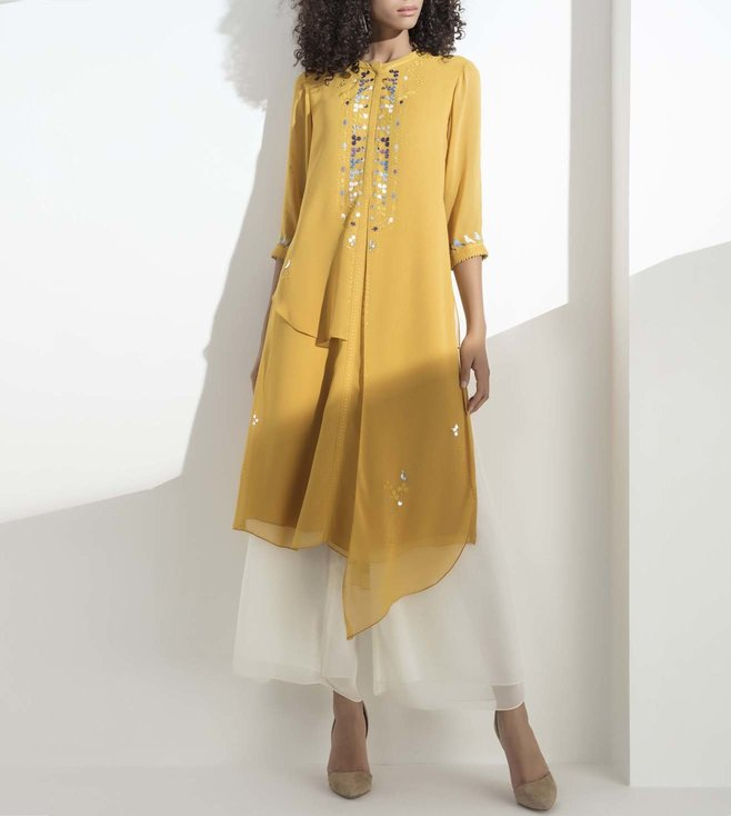 AM:PM Mustard Embellished Georgette Tunic Set